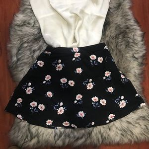 Black skirt with pink flowers all around